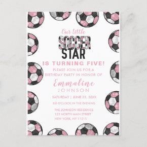 Girly Pink Black White Soccer Balls Birthday Party Invitation Post