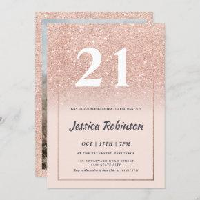 Girly rose gold glitter ombre pink chic 21 invitation