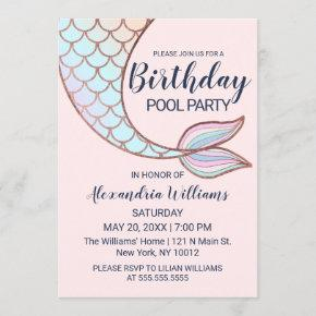 Girly Rose Gold Pink Mermaid Tail Pool Birthday Invitation