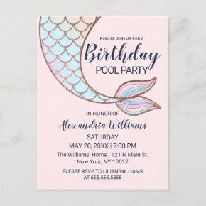 Girly Rose Gold Pink Mermaid Tail Pool Birthday Invitation Post