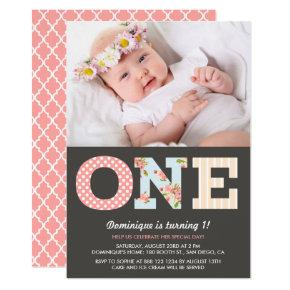 Girly Shabby Chic First Birthday Photo Invitations