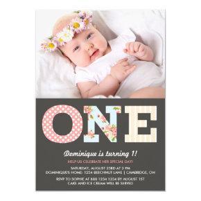 Girly Shabby Chic First Birthday Photo Invitation