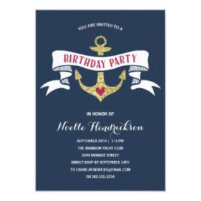 Glam Anchor | Nautical Birthday Party Card
