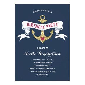 Glam Anchor | Nautical Birthday Party Invitations