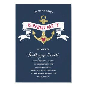 Glam Anchor | Nautical Surprise Birthday Party Invitations