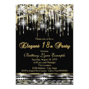 Glam Black Gold Elegant 18th Birthday Party Card