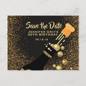 Glam Black Gold Save the Date Champagne Birthday Announcement Postcard