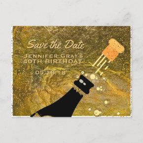 Glam Black Gold Save the Date Champagne Birthday Announcement PostInvitations