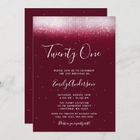 Glam Burgundy 21st Birthday Invitation