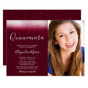 Glam Burgundy Quinceanera Photo Invitation