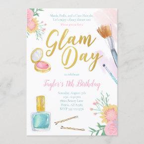 Glam Day Spa Party Birthday Invitation
