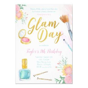 Glam Day Spa Party Birthday Invitation