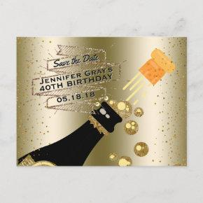 Glam Gold Champagne Save the Date Elegant Birthday Announcement PostInvitations