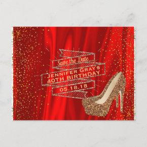 Glam Gold Red Save the Date Elegant Birthday Party Announcement PostInvitations