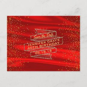 Glam Gold Red Save the Date Elegant Birthday Party Announcement Postcard