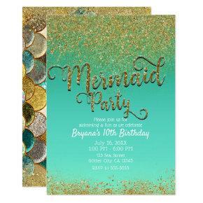 Glam Mermaid Party Gold Glitter & Teal Birthday Invitation