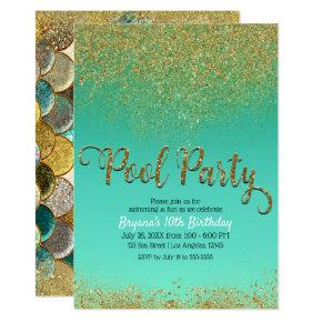 Glam Mermaid Pool Party Gold Glitter Teal Birthday Invitation