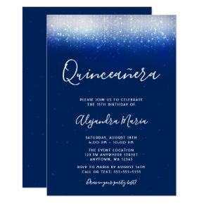 Glam Navy Blue Quinceanera
