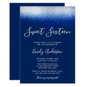 Glam Navy Blue Sweet 16