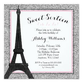Glam Paris Themed Faux Glitter Sweet 16 Birthday Card