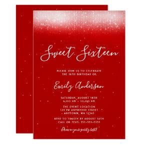 Glam Red Sweet 16 Invitation