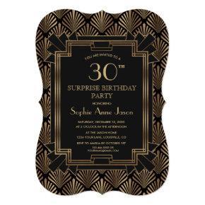 Glam Roaring 20's Great Gatsby Art Deco Birthday Invitation
