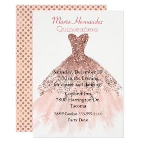 Glam Rose Gold Gown Quinceañera Invitation