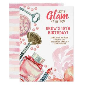 Glam Spa Makeup Birthday Party Invitation