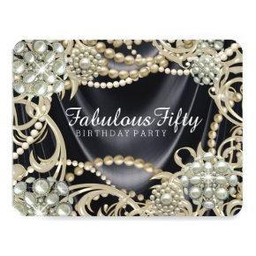 Glamorous Black Ivory Pearl Birthday Party Invitation