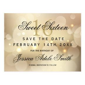 Glamorous Gold Bokeh Light Sweet 16 save the date Post