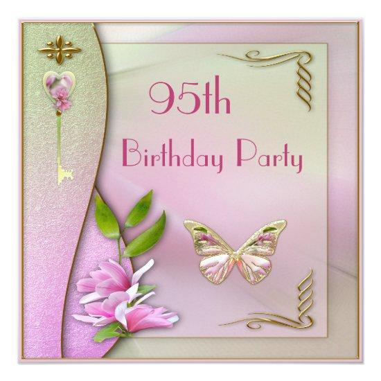 Glamorous Key Magnolia Butterfly 95th Birthday Invitations