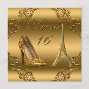 Glamorous Paris Gold Glitter High Heels Sweet 16 Invitation
