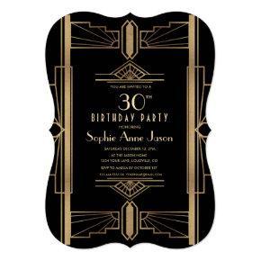 Glamorous Roaring 20's Great Gatsby Birthday Party Invitations