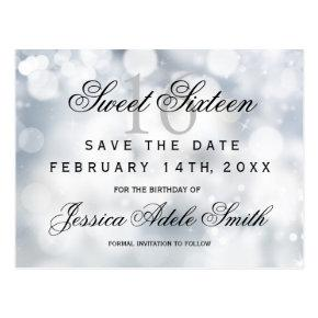 Glamorous Silver Glitter Sweet 16 save the date Post