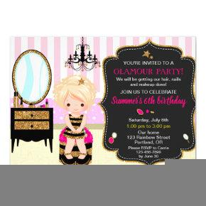 Glamour birthday invitation Makeup manicures party