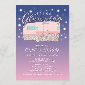 Glamping Birthday Party Bedazzled Invitation