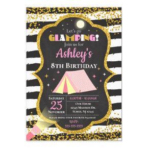 Glamping Birthday Party Invitation / Girls Camping