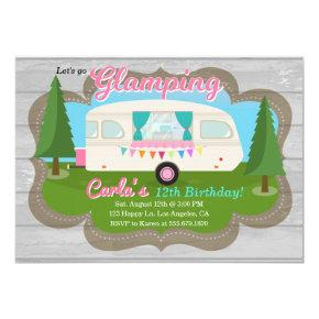 Glamping Girls Camping Birthday Party Invitations