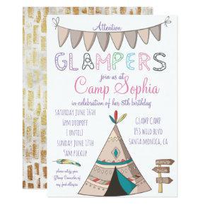 Glamping Themed Birthday Invitation