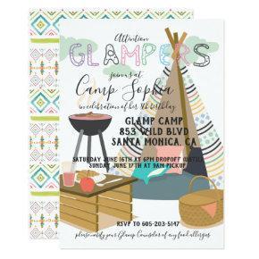 Glamping Themed Birthday Invitations