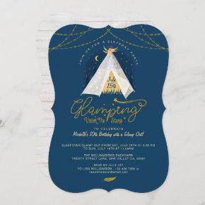 Glamping Under the Stars Tepee Navy & Gold Camping Invitation