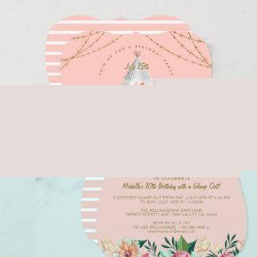 Glamping Under the Stars Tepee Pink & Gold Camping Invitation