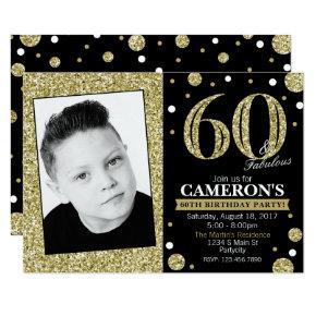Glitter Adult Milestone Birthday Photo Invitations