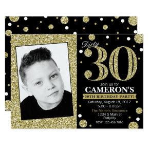 Glitter Adult Milestone Birthday Photo Invitations
