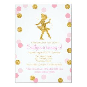 Glitter Ballerina, Pink and Gold Sparkle Birthday Card