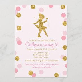 Glitter Ballerina, Pink and Gold Sparkle Birthday Invitation