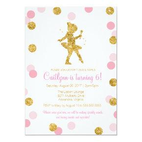 Glitter Ballerina, Pink and Gold Sparkle Birthday Invitations