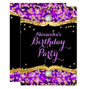Glitter Black Gold Purple Confetti Birthday Party Invitation