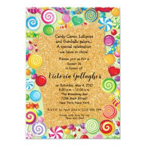 Glitter Candyland Theme Sweet 16 Invite