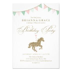 Glitter Carousel Horse | Birthday Party Invitations